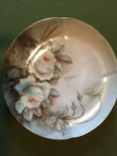1906 Decorative Plate With Handpainted White Roses Marked I. C.