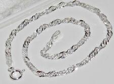 925 Sterling Silver Ladies Fancy Link Anklet / Ankle Bracelet - 10 inch