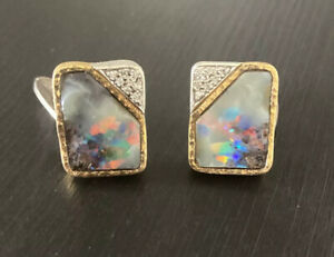 Vintage Opal Cufflinks, 18K Yellow Gold, Handmade. Diamonds. RRP $15,000+