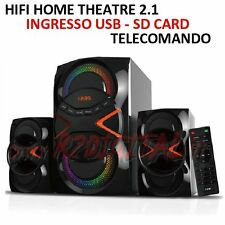 HI FI RADIO HOME THEATRE CASSE ACUSTICHE MINI STEREO USB SD MINI SUBWOOFER CD HD