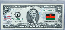 Two Dollar Note Paper Money US Currency Federal Reserve $2 2003 Unc Flag Malawi