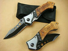 New Brn Knife Sharp Saber Wood Handles Outdoor Bowie Hunting Folding Tool Gift