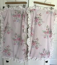 RARE Retired Simply Shabby Chic Ruffled Shams Pink Roses Lght Blue Daisies King