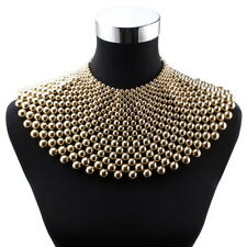 Big Chunky Beaded Choker Collar Pendant Necklace for Women Chain Metal Statement