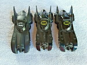 "Ertl Batmobile Lot 3 Bat Mobile Cars 1992 1989 3.5"" Long Toy Batman Car DC Comic"