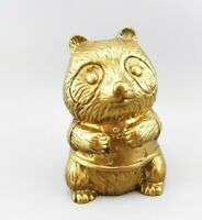 "Vintage Brass PANDA Bear Bank 6 1/2"" Tall Beautiful! EUC"