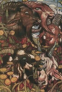 DETMOLD Art Print Aesop Fables THE SHE-GOATS & THEIR BEARDS Moral OUTWARD LOOKS