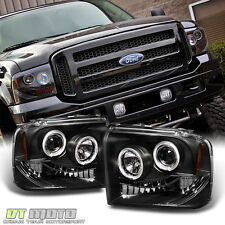 Black 2005 2006 2007 Ford F250/F350/F450 Superduty LED Halo Projector Headlights