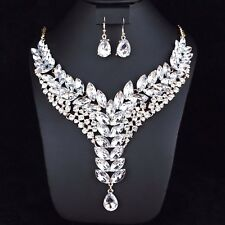 Ivy Clear Austrian Rhinestone Crystal Statement Necklace Earrings Set Prom N26