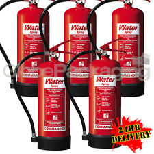 5 x NEW 6 LITRE WATER FIRE EXTINGUISHERS 6L WAREHOUSE OFFICE WORKSHOP *24HRS*