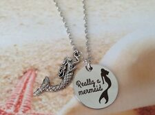 NAUTICAL MERMAID STAINLESS STEEL WORD DISC CHARM LINK CHAIN BEACH WEAR NECKLACE