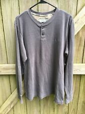 RealTree Thermal Long Sleeve 2 Button Henley Mens Size M Blue Gray Pullover