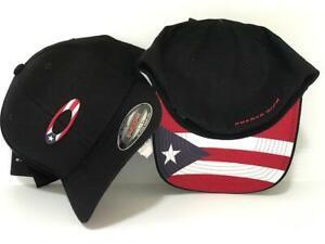OAKLEY TINCAN FLAG PUERTO RICO BLACK MEN'S HAT CAP FOS900117 SIZE S/M,L/XL NWT