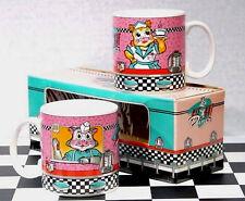 Kit Kat Diner Mugs Set/2 Boxed '50s Cat Waitress Cook Wallboxes Vandor 1987 MIB