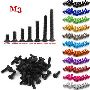 Hex Socket Bolts Countersunk Flat Head Screws M2,M3,M4,M5,M6 Aluminum Alloy LOT