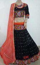 Indian Navratri Special Garbha Lehenga Choli Chiffon Bandhej Embroidery Work