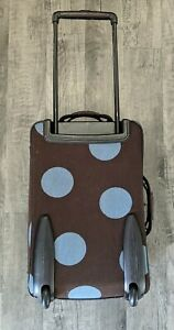 """Hartmann Luxe 22"""" Blue Polka Dot Wool Leather Expandable Luggage 2 Wheeled"""