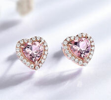 2.20Ct Heart Cut Morganite Halo Heart Stud Earrings Solid 14K Rose Gold Finish