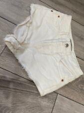 Ladies Topshop White Denim Shorts Brooke Moto Size Uk 8 Ripped Summer Ibiza