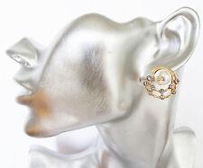 Stunning Faux Pearl & Diamante Stud Earrings In Gold Tone 2 cms Drop *UK Seller*