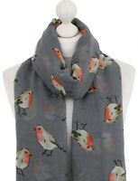 Ladies Robin Scarf Charcoal Garden Robins Bird Print Scarves Christmas Wrap UK