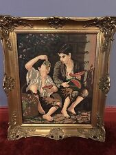 Needlepoint Handmade Picture Frame Of Two Boys Eating Fruits