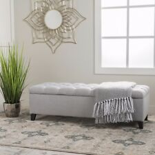 Charleston Contemporary Button-Tufted Fabric Storage Ottoman Bench