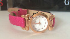 NEW! GUESS ROSE GOLD DIAL PINK GENUINE LEATHER BRACELET STRAP WATCH $85 SALE