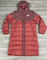 NIKE SPORTSWEAR DOWN FILL LONG PUFFER MENS RED COAT PARKA JACKET SIZE LARGE