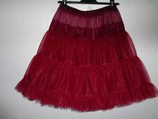 "Burgundy Chiffon Rock & Roll 1950s Style Full Circle Petticoat 21""L"