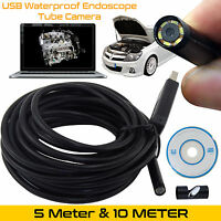 7mm 6 LED USB Endoscope Borescope Waterproof Inspection Tube Video Camera 5M