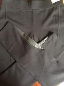 PURE DKNY Black Leggings Pants Leather Trim NWT MSRP $255.00