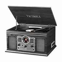 Victrola Classic Wood 6-in-1 Bluetooth Turntable Entertainment Center, Graphite