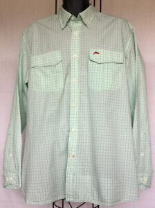 Men's Simms XL Green Plaid Twin Pocket L/S Button Down Shirt