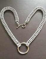"""18"""" Chain-mail O-Ring Choker Collar Necklace Steel - Persian 4 in 1 weave Custom"""