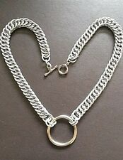 "18"" Chain-mail O-Ring Choker Collar Necklace Steel - Persian 4 in 1 Custom BDSM"