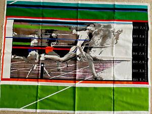 "1970's KLAUS HEIDER Olympia Collection TRACK & FIELD ""Sprinter"" Fabric Art Print"