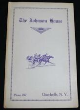 THE JOHNSON HOUSE RESTAURANT DINING MENU CHURCHVILLE NY VINTAGE 1950