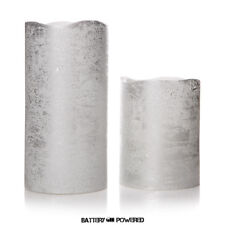 Set of 2 Silver Flameless LED Wax Pillar Candle – Battery Operated Safe Gift