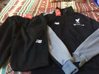 Liverpool FC Official Men's Tracksuit - Black and Gray - Medium.