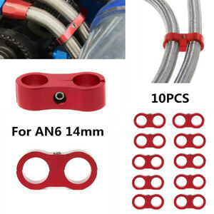 Braided Fuel Line 6AN Oil/Gas/Fuel Hose End Fitting Hose Separator Clamp Kit10PC