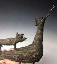 Antique 19th / 20th C. Benin African Bronze Animal Sculpture 'Leopard on Stag'