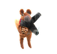 Wooly Squirrel with Pine Cone and Scarf Christmas Ornament