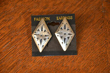 Vintage Mexican Jewelry Sterling Silver Earrings Diamond Taxco Signed Mexico by