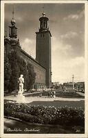 Stockholm Schweden 1935 Stadshuset Grünanlagen Statue Rathaus Turm alte AK