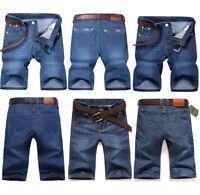 Mens Denim Shorts Summer Half Pant Casual Jeans Stretch Cargo Combat Denim Pants