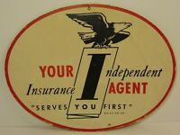 Vintage 1950s Your Independent Insurance Agent Eagle Graphic Advertising Sign