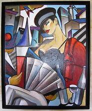 """HST tableau huile sur toile peinture Stephane Gisclard """"la voile bleue"""""""