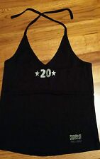 NEW Hooters 20 year anniversary limited edition black halter top silver glitter