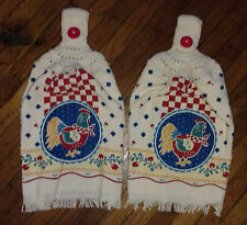 RED AND BLUE ROOSTER KITCHEN TOWELS WITH CROCHET CREAM TOP SET OF 2